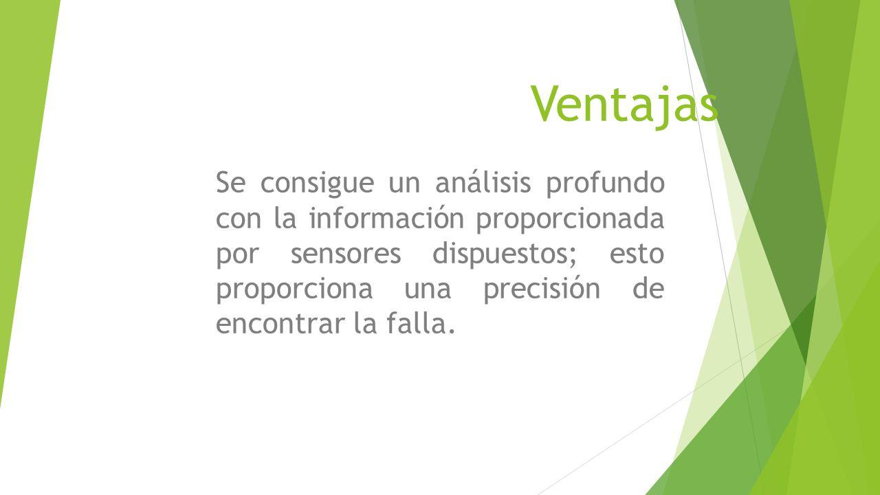 Ventajas Se consigue un análisis profundo con la información proporcionada por sensores dispuestos; esto proporciona una precisión de encontrar la falla.