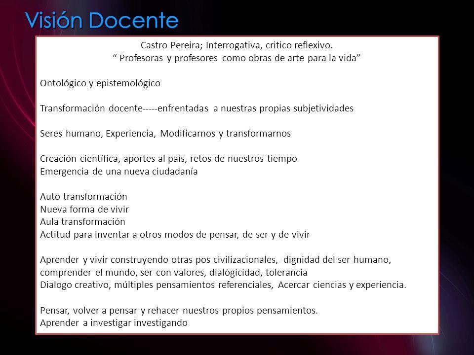 Castro Pereira; Interrogativa, critico reflexivo.