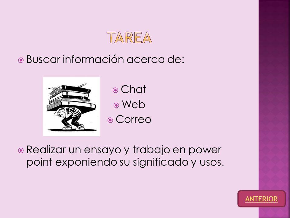  Buscar información acerca de:  Chat  Web  Correo  Realizar un ensayo y trabajo en power point exponiendo su significado y usos.