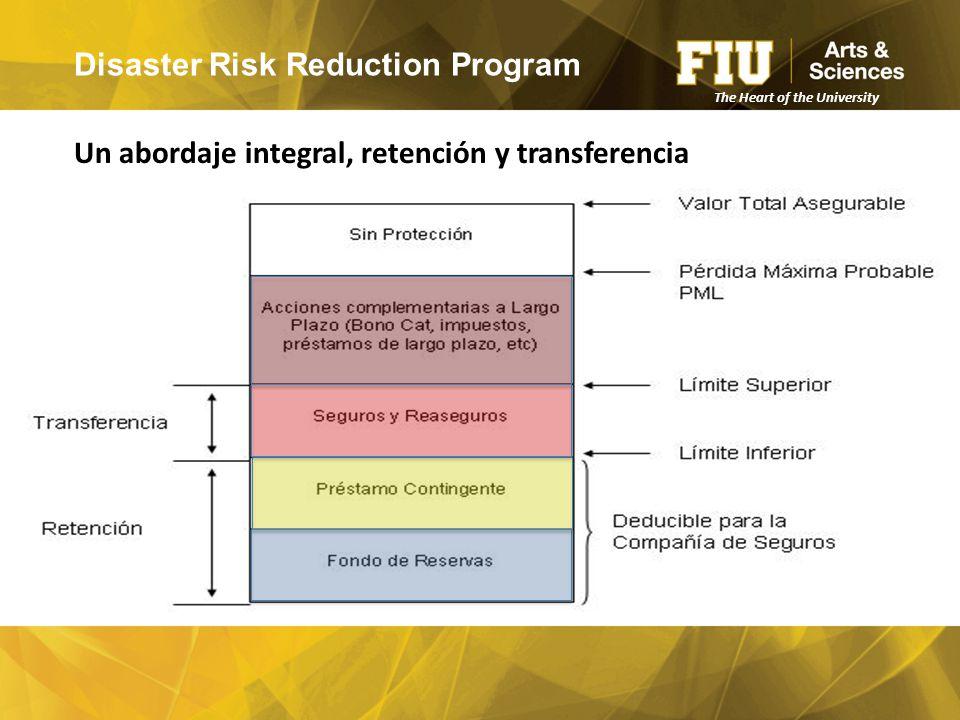 Disaster Risk Reduction Program Un abordaje integral, retención y transferencia The Heart of the University