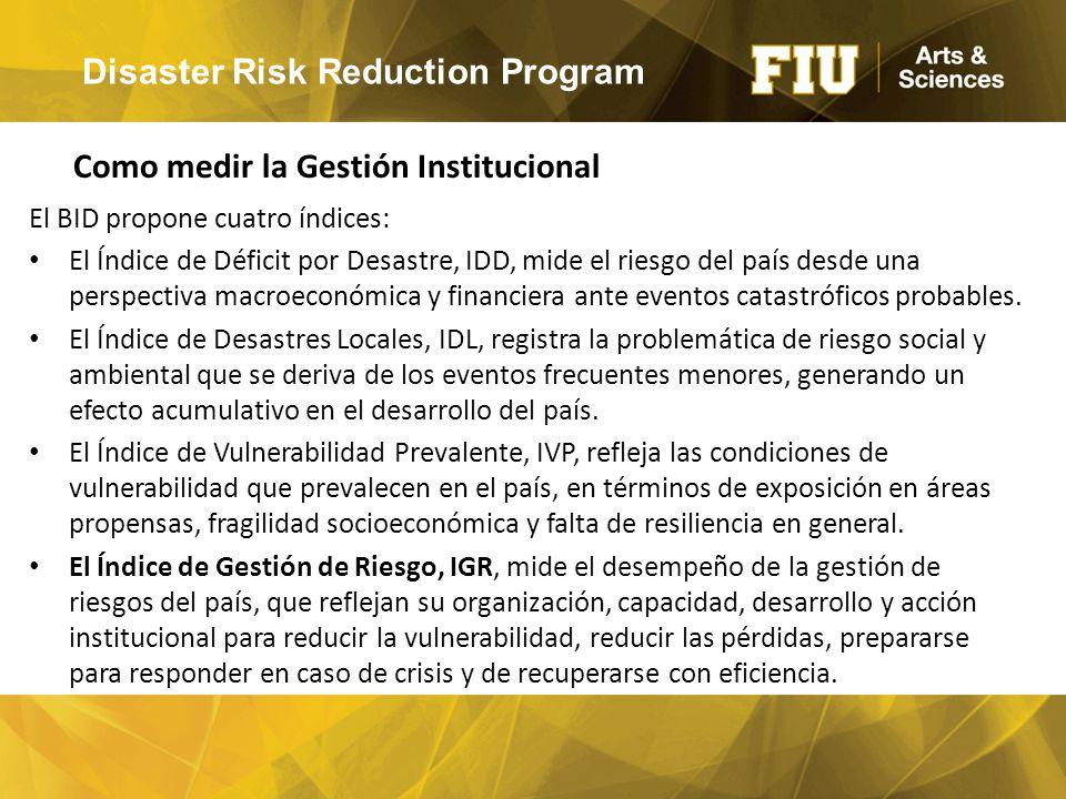 Disaster Risk Reduction Program El BID propone cuatro índices: El Índice de Déficit por Desastre, IDD, mide el riesgo del país desde una perspectiva macroeconómica y financiera ante eventos catastróficos probables.
