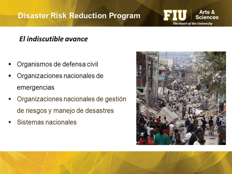 Disaster Risk Reduction Program  Organismos de defensa civil  Organizaciones nacionales de emergencias  Organizaciones nacionales de gestión de riesgos y manejo de desastres  Sistemas nacionales El indiscutible avance The Heart of the University