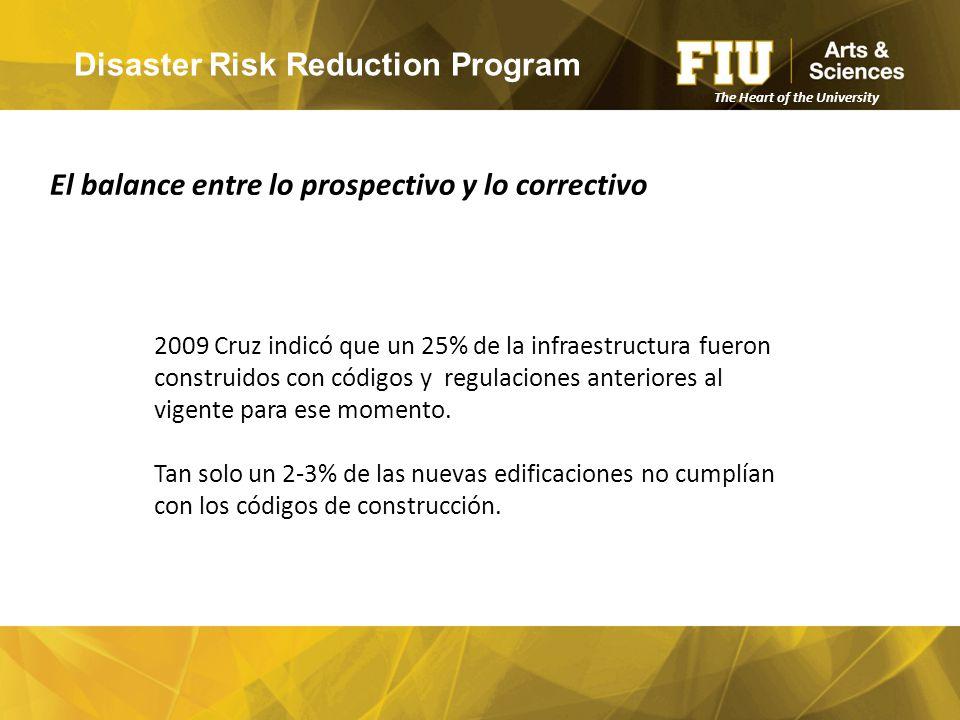 Disaster Risk Reduction Program 2009 Cruz indicó que un 25% de la infraestructura fueron construidos con códigos y regulaciones anteriores al vigente para ese momento.