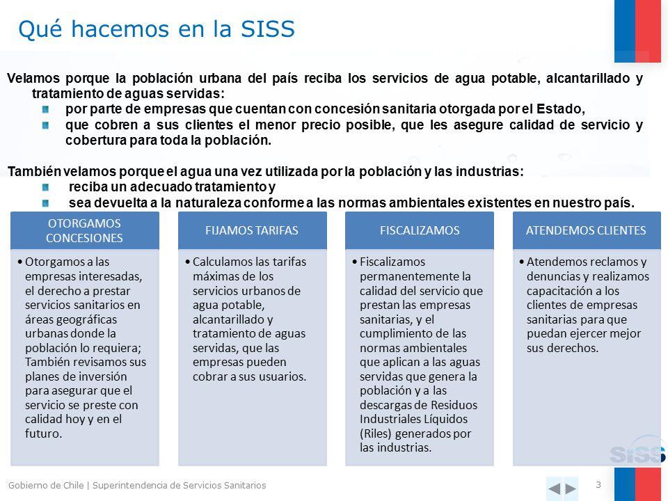 La Superintendencia de Servicios Sanitarios (SISS) es el organismo regulador y fiscalizador de los servicios urbanos de agua potable y alcantarillado del país.