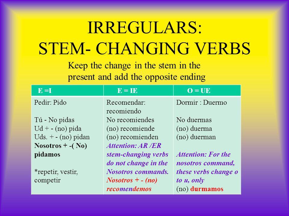 IRREGULARS: STEM- CHANGING VERBS E =I E = IE O = UE Pedir: Pido Tú - No pidas Ud + - (no) pida Uds.
