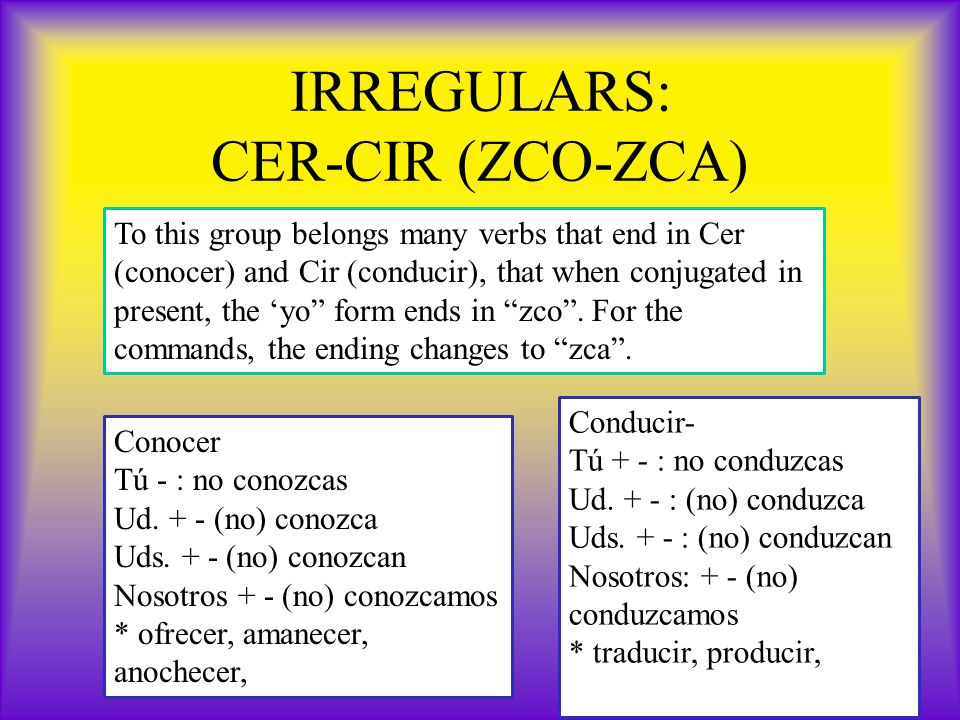 IRREGULARS: CER-CIR (ZCO-ZCA) To this group belongs many verbs that end in Cer (conocer) and Cir (conducir), that when conjugated in present, the 'yo form ends in zco .
