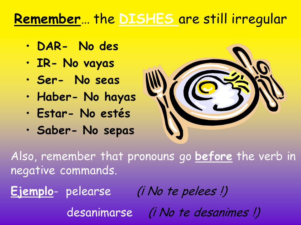 Remember… the DISHES are still irregular DAR- No des IR- No vayas Ser- No seas Haber- No hayas Estar- No estés Saber- No sepas Also, remember that pronouns go before the verb in negative commands.