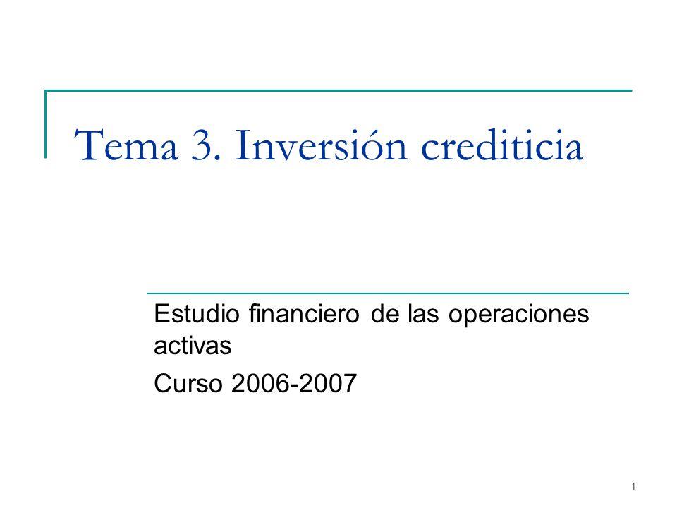 1 Tema 3. Inversión crediticia Estudio financiero de las operaciones activas Curso 2006-2007