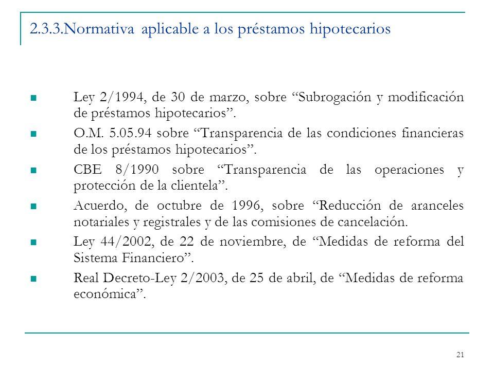 21 2.3.3.Normativa aplicable a los préstamos hipotecarios Ley 2/1994, de 30 de marzo, sobre Subrogación y modificación de préstamos hipotecarios .