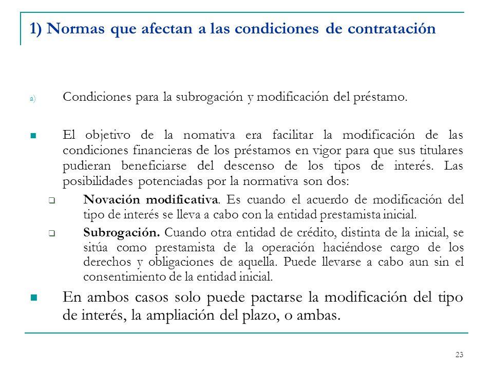 23 1) Normas que afectan a las condiciones de contratación a) Condiciones para la subrogación y modificación del préstamo.