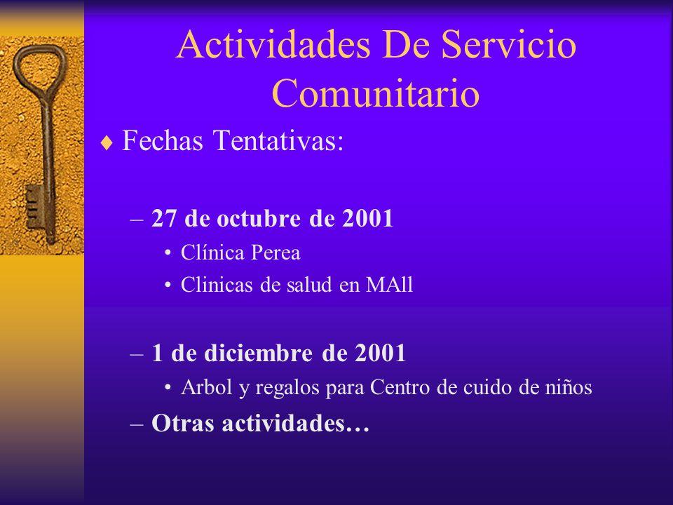 Actividades De Servicio Comunitario  Fechas Tentativas: –27 de octubre de 2001 Clínica Perea Clinicas de salud en MAll –1 de diciembre de 2001 Arbol y regalos para Centro de cuido de niños –Otras actividades…