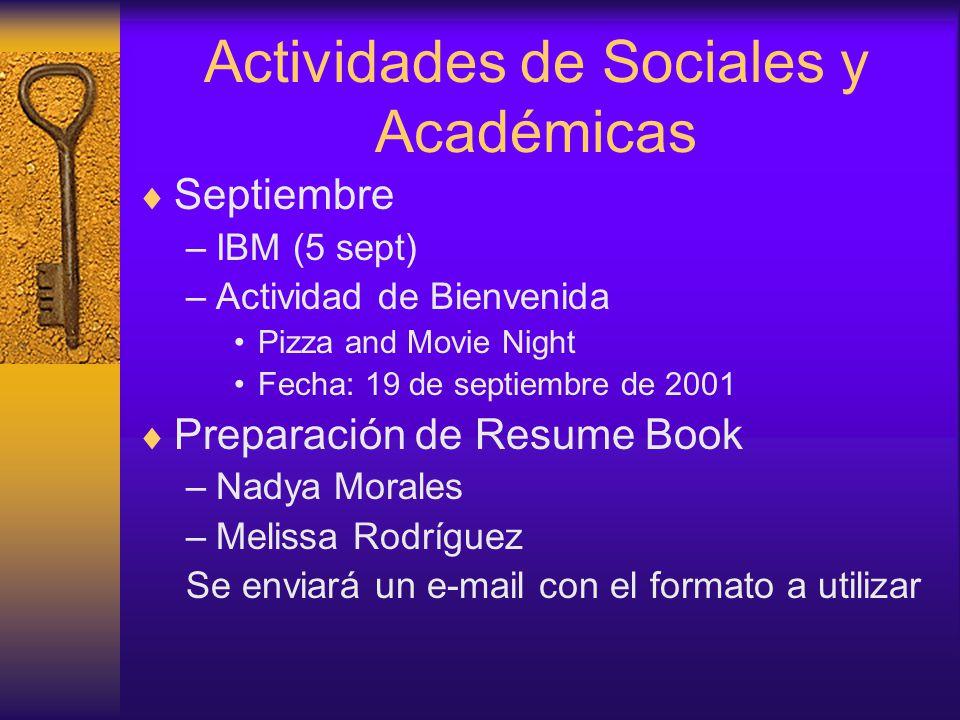 Actividades de Sociales y Académicas  Septiembre –IBM (5 sept) –Actividad de Bienvenida Pizza and Movie Night Fecha: 19 de septiembre de 2001  Preparación de Resume Book –Nadya Morales –Melissa Rodríguez Se enviará un e-mail con el formato a utilizar