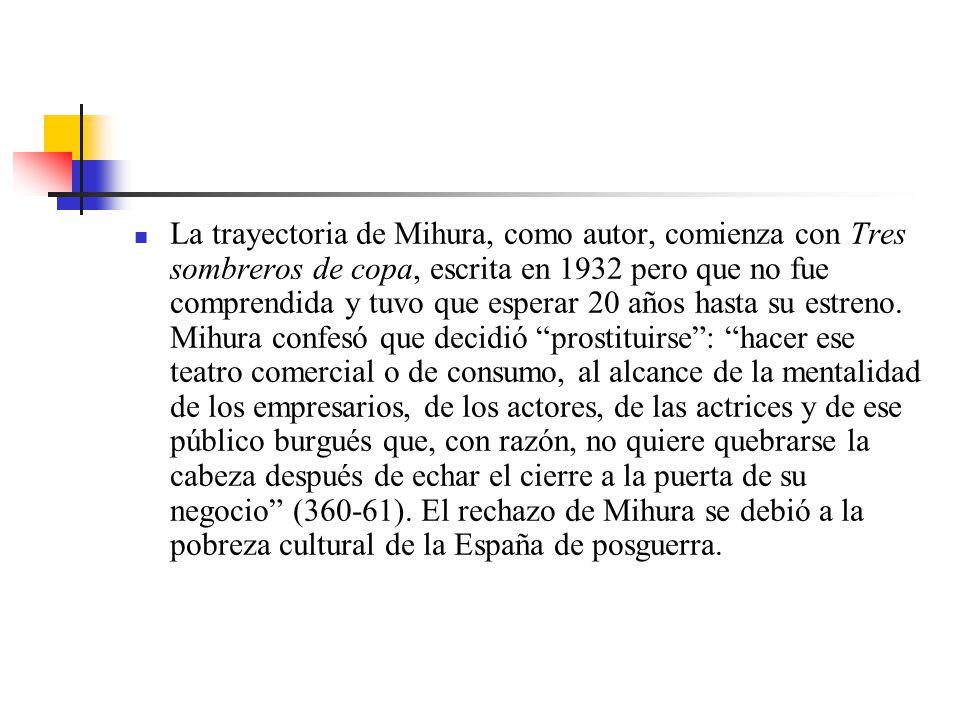 La trayectoria de Mihura, como autor, comienza con Tres sombreros de copa, escrita en 1932 pero que no fue comprendida y tuvo que esperar 20 años hasta su estreno.