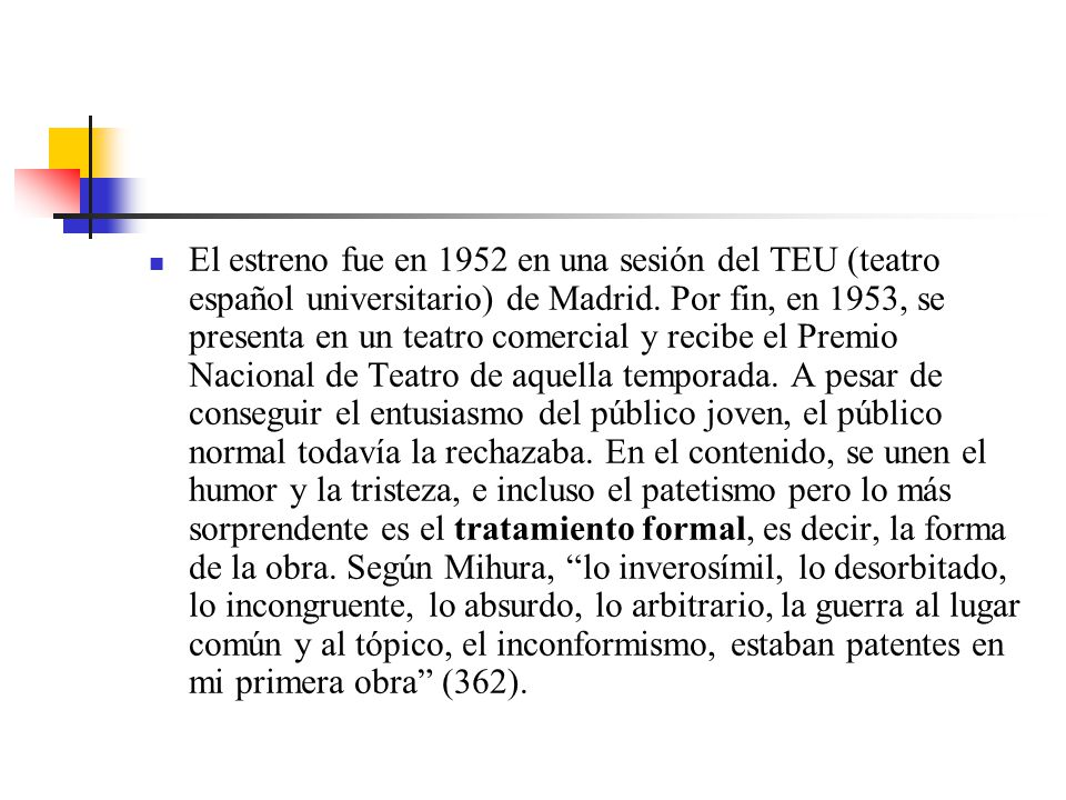 El estreno fue en 1952 en una sesión del TEU (teatro español universitario) de Madrid.