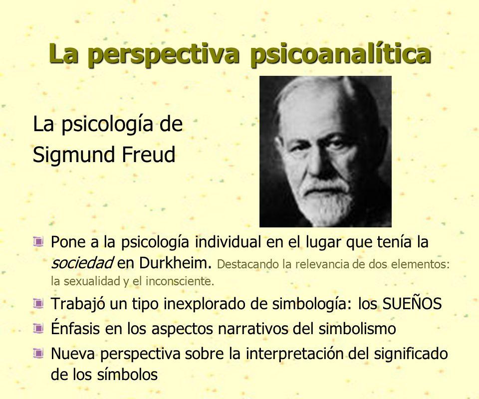 La perspectiva psicoanalítica La psicología de Sigmund Freud Pone a la psicología individual en el lugar que tenía la sociedad en Durkheim.