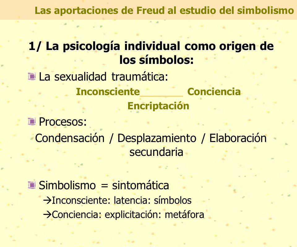 Las aportaciones de Freud al estudio del simbolismo 1/ La psicología individual como origen de los símbolos: La sexualidad traumática: Inconsciente_______ Conciencia Encriptación Procesos: Condensación / Desplazamiento / Elaboración secundaria Simbolismo = sintomática  Inconsciente: latencia: símbolos  Conciencia: explicitación: metáfora