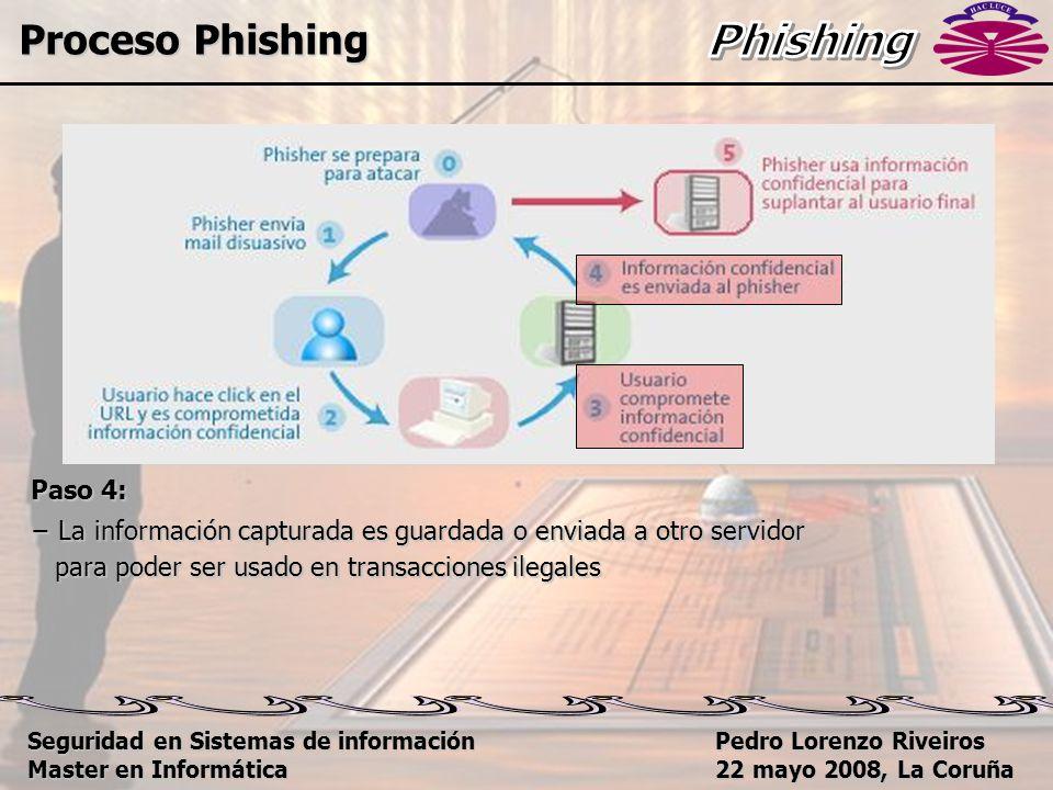 Pedro Lorenzo Riveiros 22 mayo 2008, La Coruña Paso 4: − La información capturada es guardada o enviada a otro servidor para poder ser usado en transacciones ilegales para poder ser usado en transacciones ilegales Proceso Phishing Seguridad en Sistemas de información Master en Informática