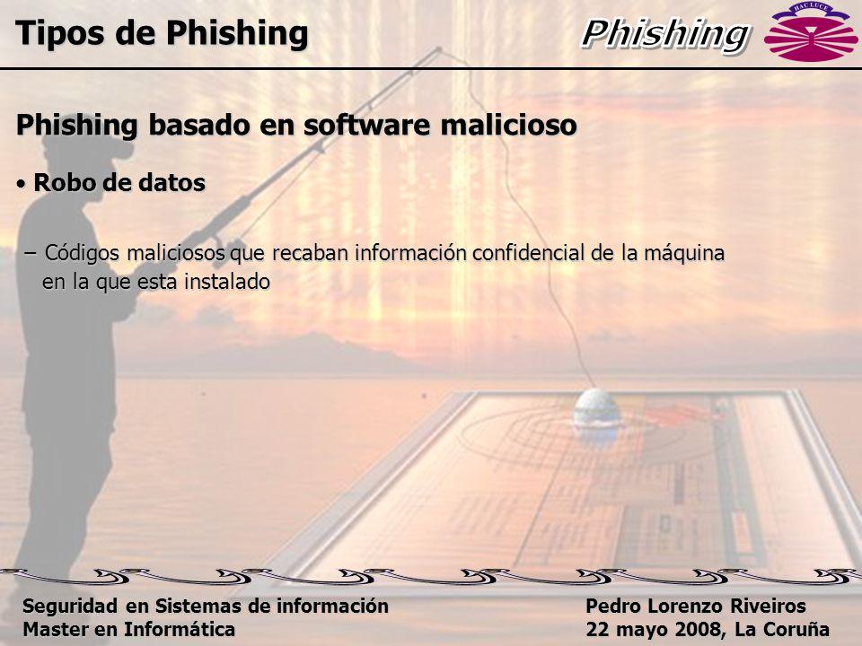 Pedro Lorenzo Riveiros 22 mayo 2008, La Coruña Phishing basado en software malicioso Robo de datos Robo de datos − Códigos maliciosos que recaban información confidencial de la máquina en la que esta instalado en la que esta instalado Tipos de Phishing Seguridad en Sistemas de información Master en Informática