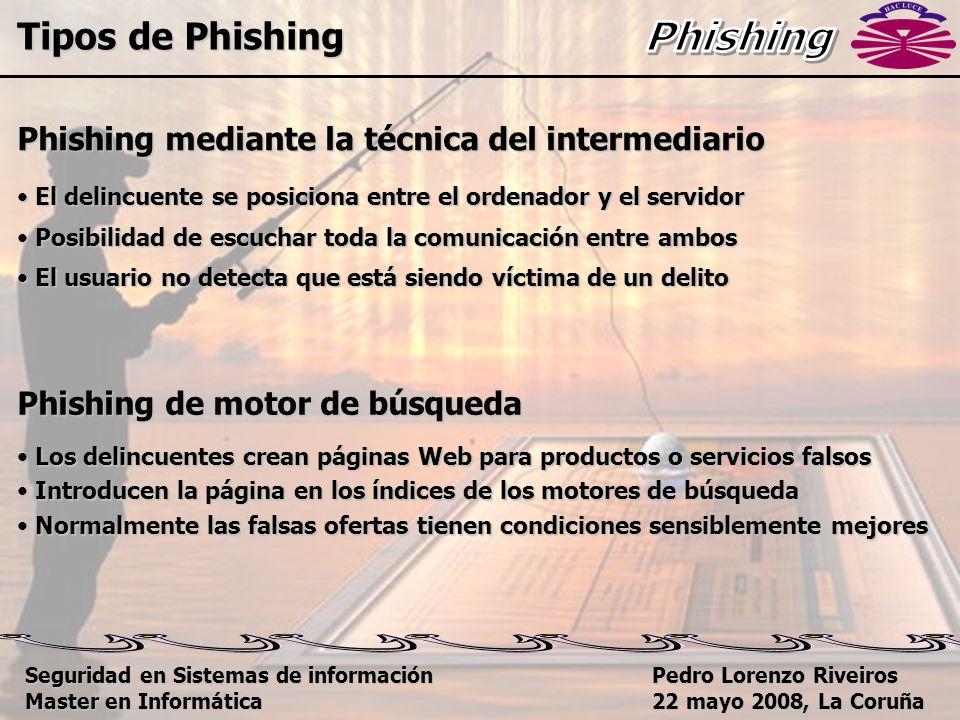 Pedro Lorenzo Riveiros 22 mayo 2008, La Coruña Phishing mediante la técnica del intermediario El delincuente se posiciona entre el ordenador y el servidor El delincuente se posiciona entre el ordenador y el servidor Posibilidad de escuchar toda la comunicación entre ambos Posibilidad de escuchar toda la comunicación entre ambos El usuario no detecta que está siendo víctima de un delito El usuario no detecta que está siendo víctima de un delito Phishing de motor de búsqueda Los delincuentes crean páginas Web para productos o servicios falsos Los delincuentes crean páginas Web para productos o servicios falsos Introducen la página en los índices de los motores de búsqueda Introducen la página en los índices de los motores de búsqueda Normalmente las falsas ofertas tienen condiciones sensiblemente mejores Normalmente las falsas ofertas tienen condiciones sensiblemente mejores Tipos de Phishing Seguridad en Sistemas de información Master en Informática