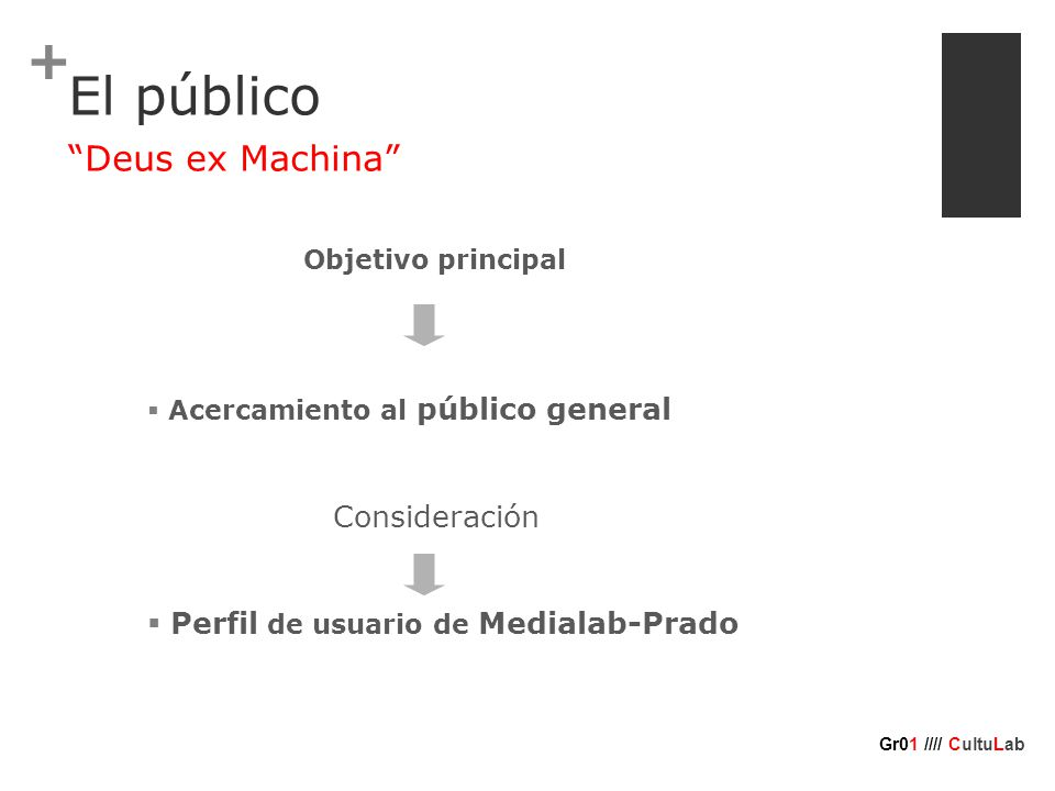 + Deus ex Machina Gr01 //// CultuLab Objetivo principal  Acercamiento al público general Consideración  Perfil de usuario de Medialab-Prado