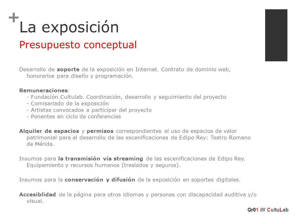 + La exposición Desarrollo de soporte de la exposición en Internet.