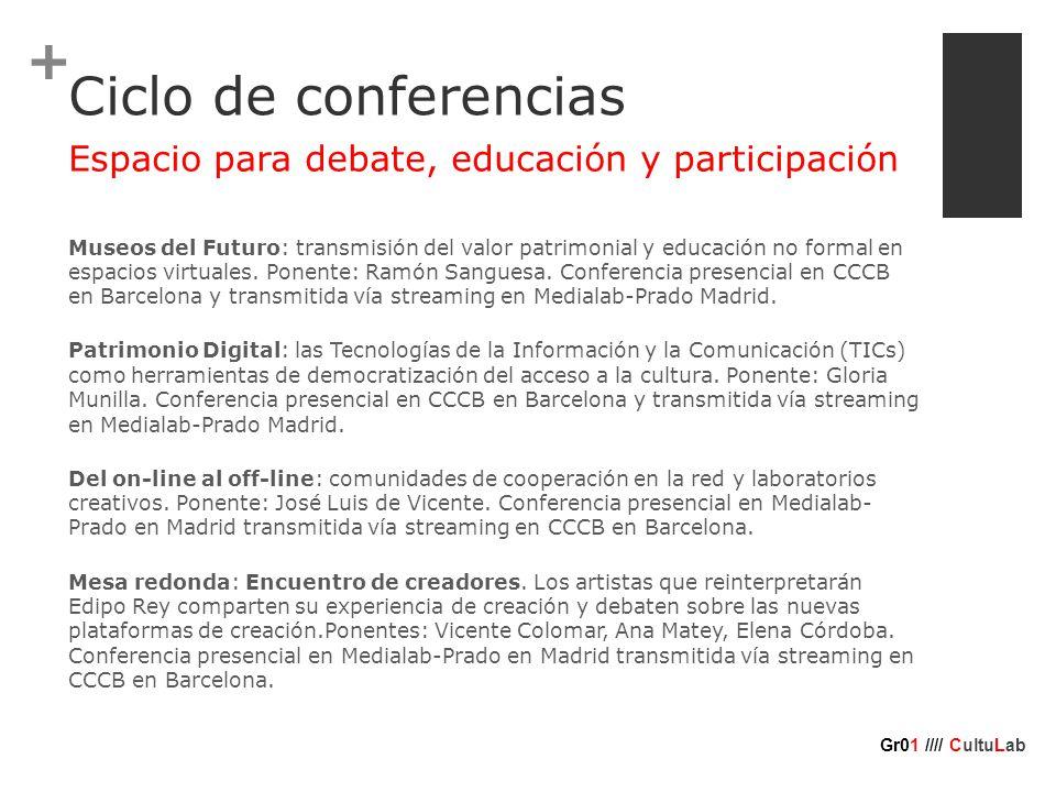 + Ciclo de conferencias Museos del Futuro: transmisión del valor patrimonial y educación no formal en espacios virtuales.