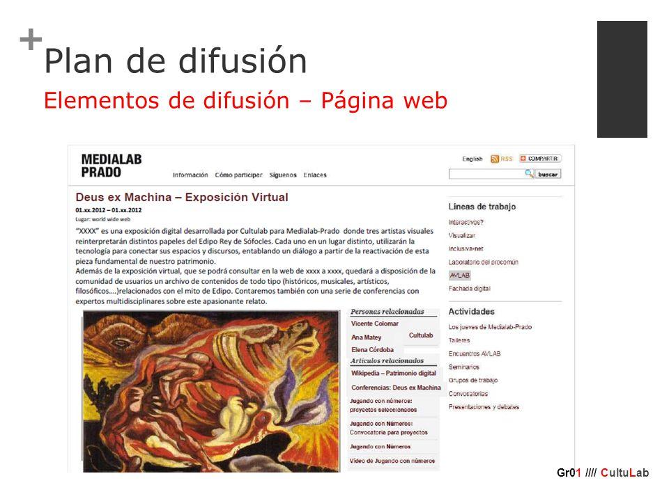 + Plan de difusión Elementos de difusión – Página web Gr01 //// CultuLab
