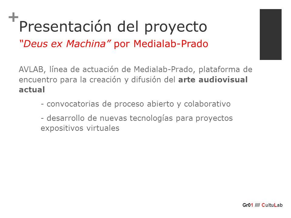 + Presentación del proyecto AVLAB, línea de actuación de Medialab-Prado, plataforma de encuentro para la creación y difusión del arte audiovisual actual - convocatorias de proceso abierto y colaborativo - desarrollo de nuevas tecnologías para proyectos expositivos virtuales Deus ex Machina por Medialab-Prado Gr01 //// CultuLab