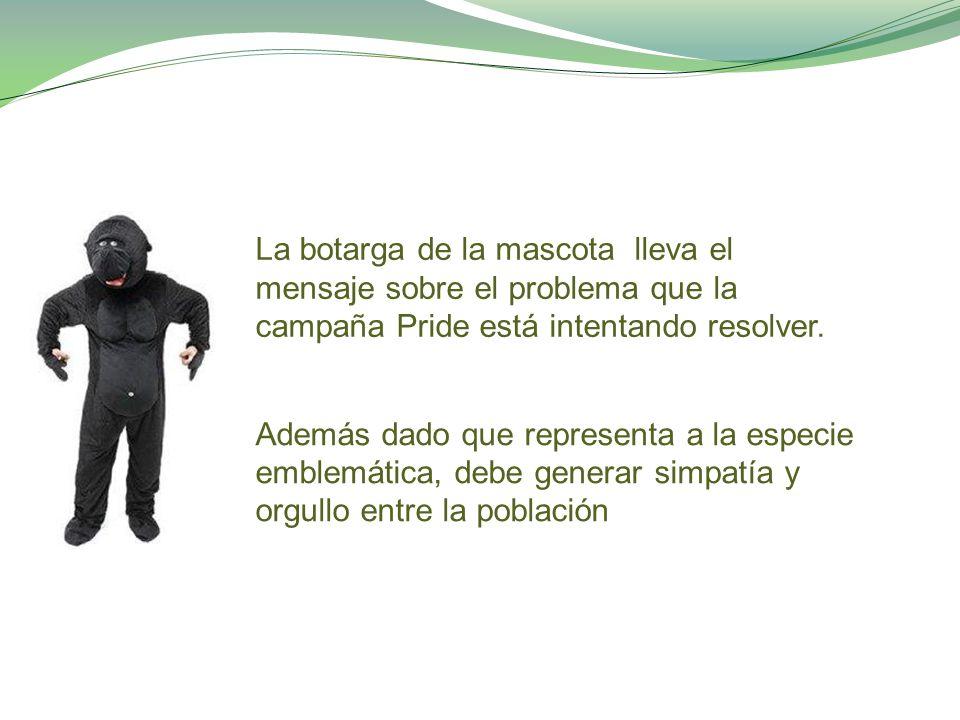 Además dado que representa a la especie emblemática, debe generar simpatía y orgullo entre la población La botarga de la mascota lleva el mensaje sobre el problema que la campaña Pride está intentando resolver.