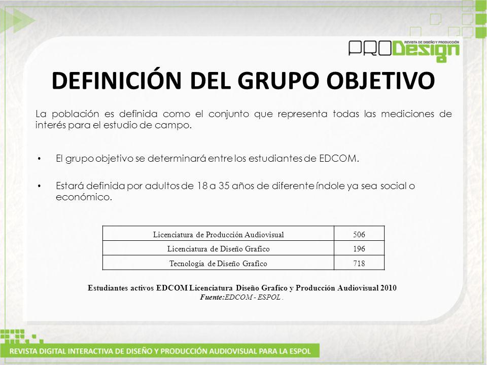 DEFINICIÓN DEL GRUPO OBJETIVO La población es definida como el conjunto que representa todas las mediciones de interés para el estudio de campo.