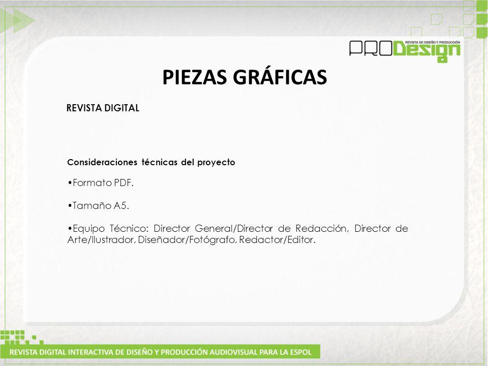 PIEZAS GRÁFICAS REVISTA DIGITAL Consideraciones técnicas del proyecto Formato PDF.
