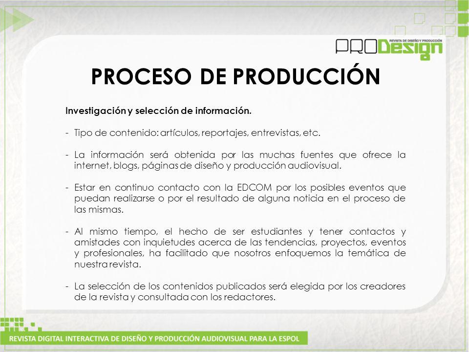 PROCESO DE PRODUCCIÓN Investigación y selección de información.