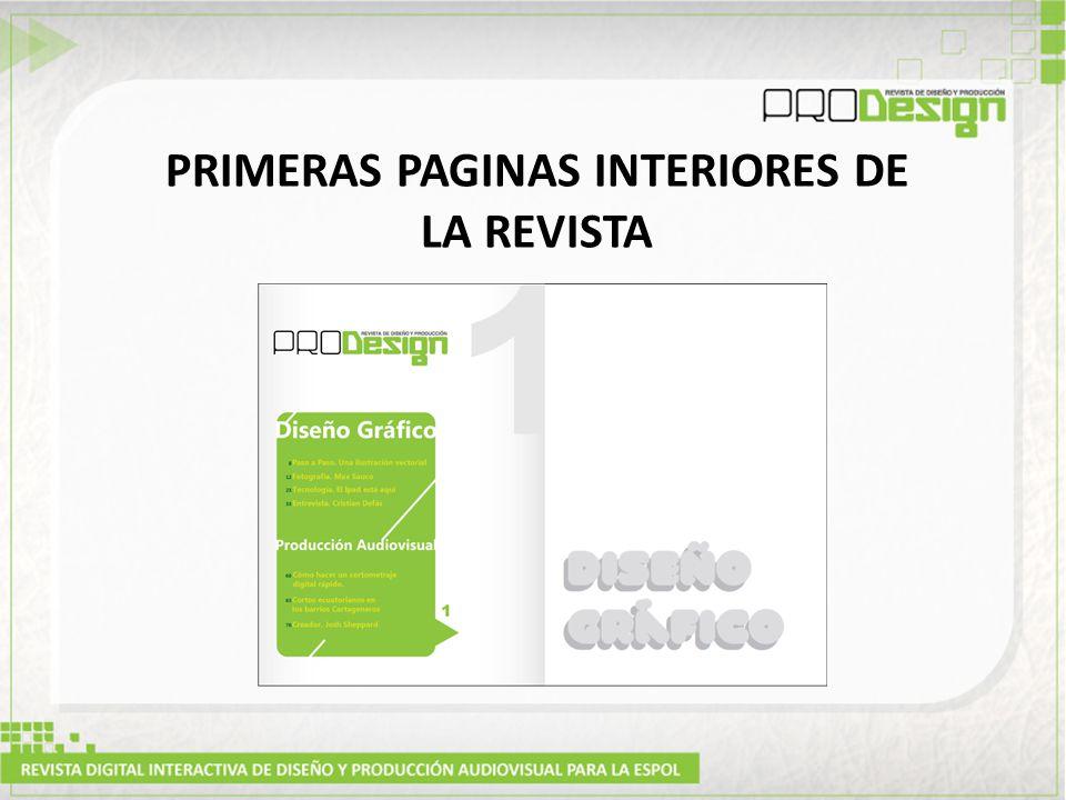 PRIMERAS PAGINAS INTERIORES DE LA REVISTA