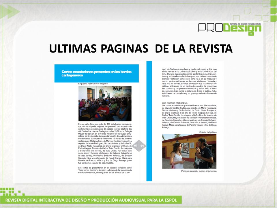 ULTIMAS PAGINAS DE LA REVISTA