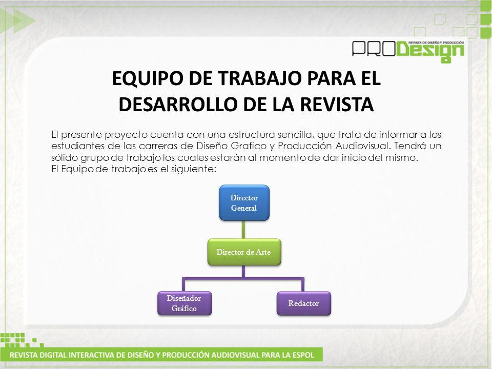 EQUIPO DE TRABAJO PARA EL DESARROLLO DE LA REVISTA El presente proyecto cuenta con una estructura sencilla, que trata de informar a los estudiantes de las carreras de Diseño Grafico y Producción Audiovisual.