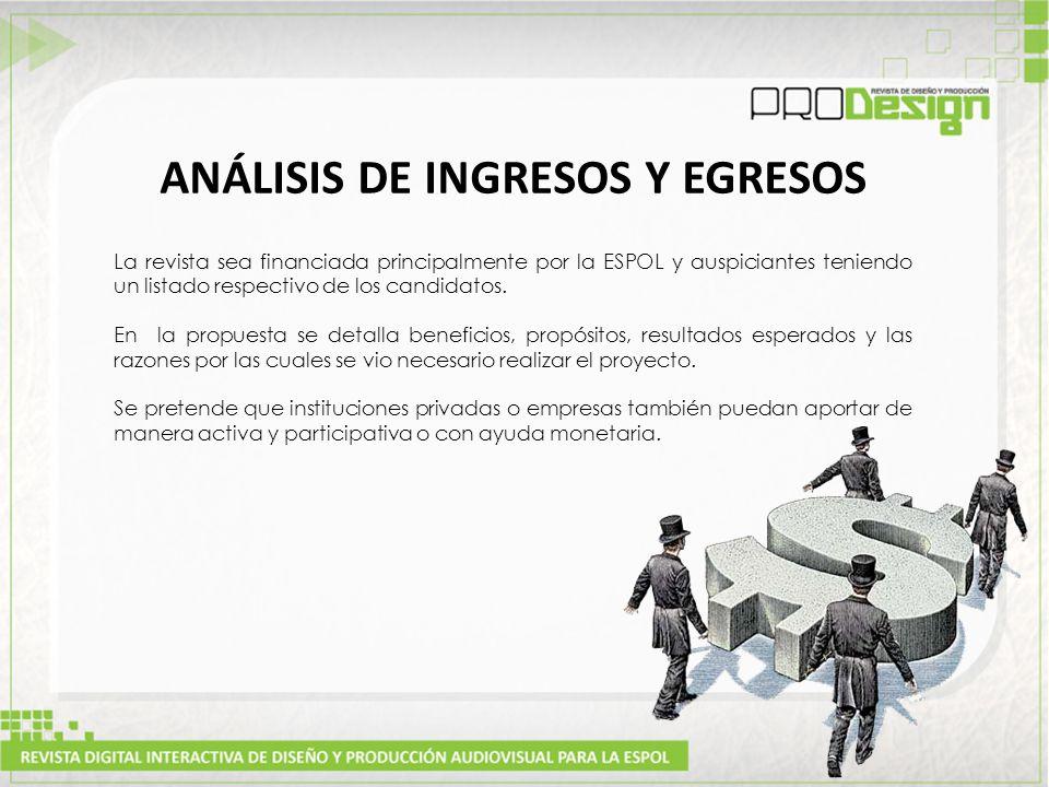 La revista sea financiada principalmente por la ESPOL y auspiciantes teniendo un listado respectivo de los candidatos.