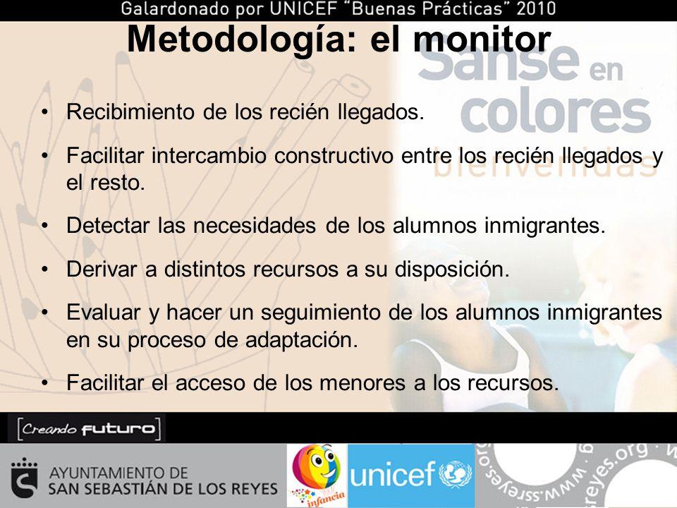 Metodología: el monitor Recibimiento de los recién llegados.