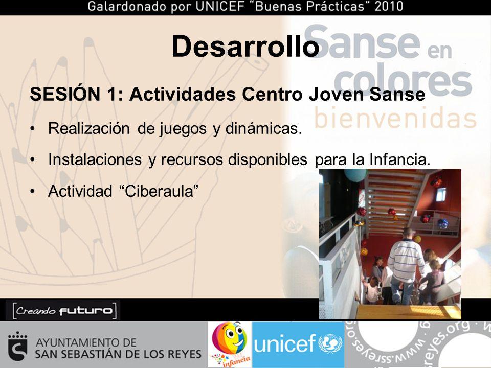 Desarrollo SESIÓN 1: Actividades Centro Joven Sanse Realización de juegos y dinámicas.