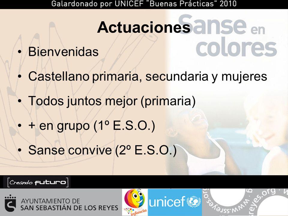 Actuaciones Bienvenidas Castellano primaria, secundaria y mujeres Todos juntos mejor (primaria) + en grupo (1º E.S.O.) Sanse convive (2º E.S.O.)