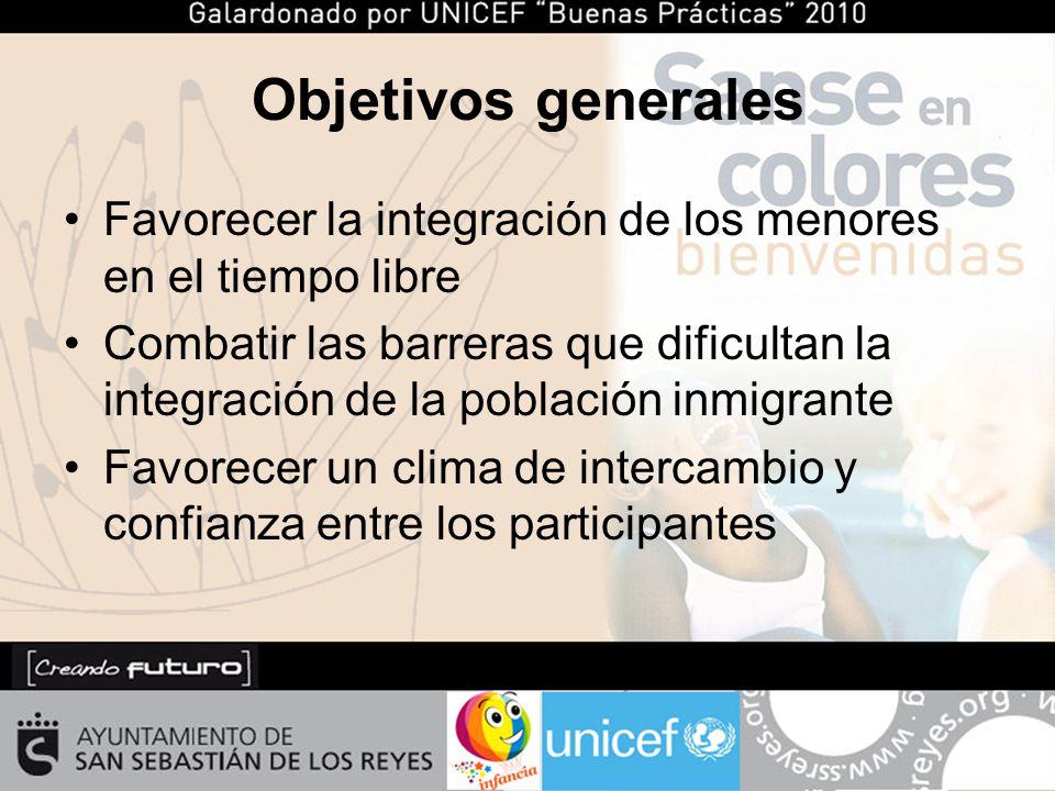 Objetivos generales Favorecer la integración de los menores en el tiempo libre Combatir las barreras que dificultan la integración de la población inmigrante Favorecer un clima de intercambio y confianza entre los participantes