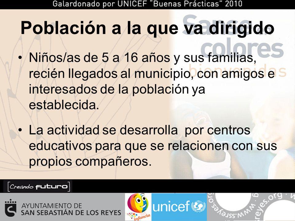 Población a la que va dirigido Niños/as de 5 a 16 años y sus familias, recién llegados al municipio, con amigos e interesados de la población ya establecida.