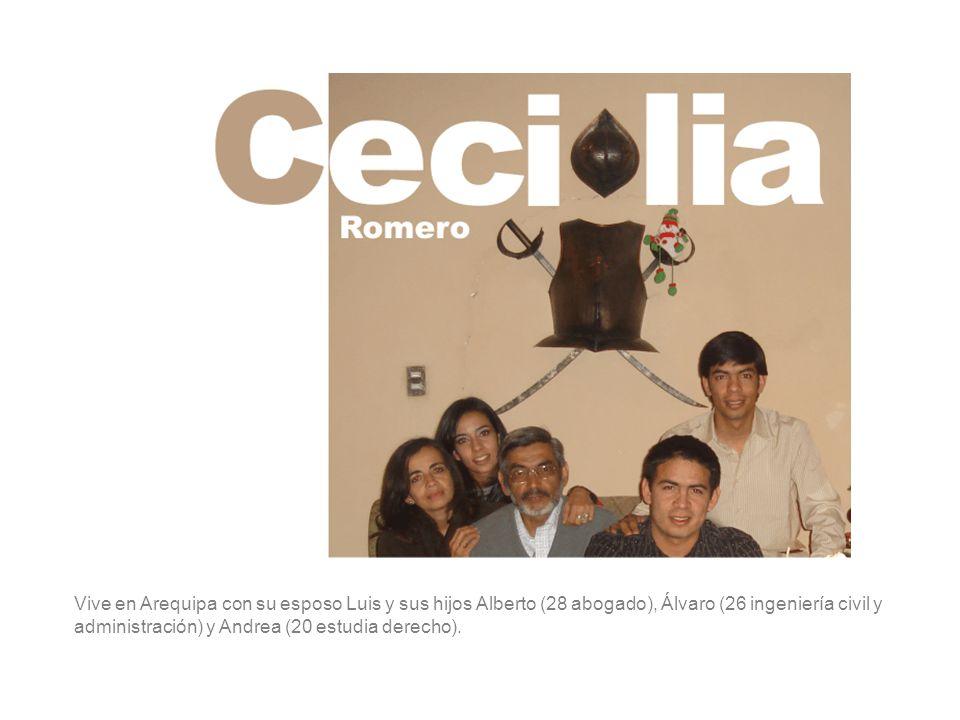 Vive en Arequipa con su esposo Luis y sus hijos Alberto (28 abogado), Álvaro (26 ingeniería civil y administración) y Andrea (20 estudia derecho).
