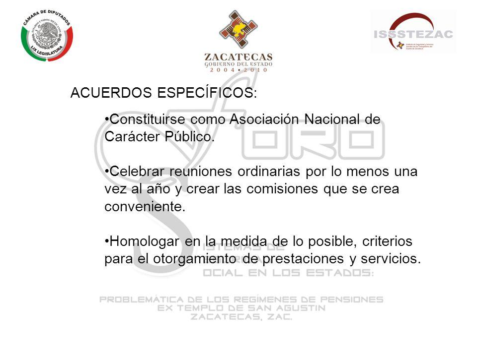 ACUERDOS ESPECÍFICOS: Constituirse como Asociación Nacional de Carácter Público.