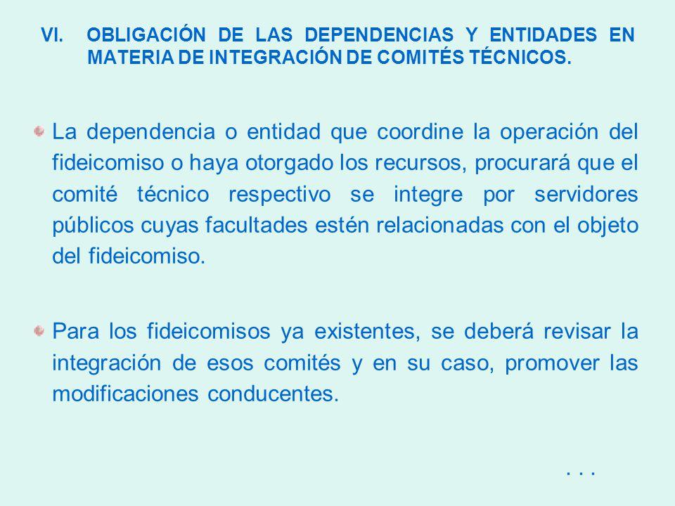 VI. OBLIGACIÓN DE LAS DEPENDENCIAS Y ENTIDADES EN MATERIA DE INTEGRACIÓN DE COMITÉS TÉCNICOS.