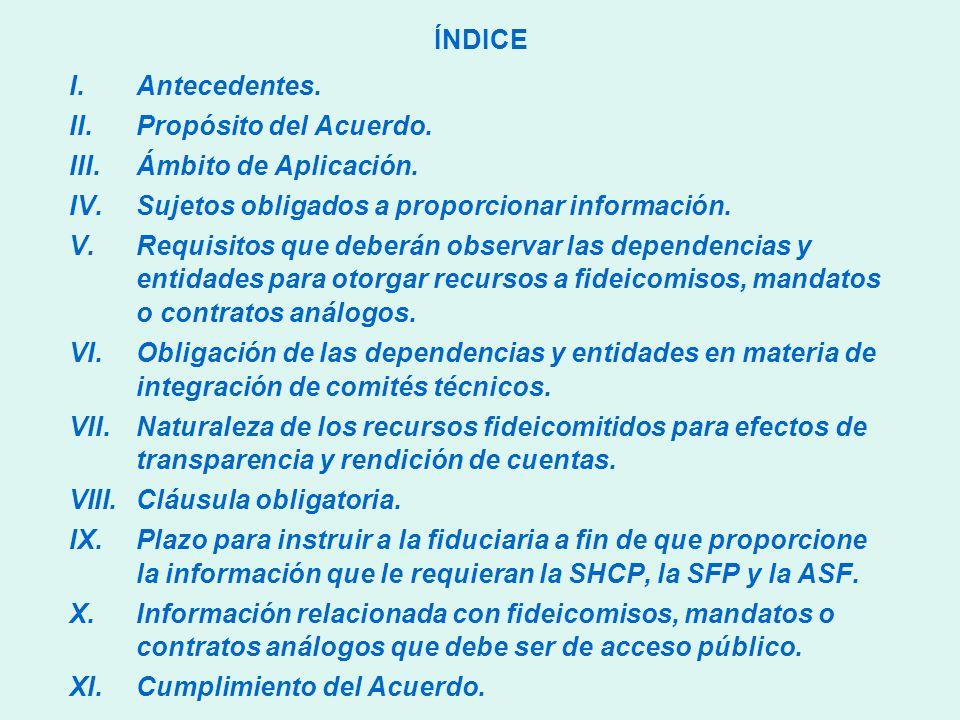 ÍNDICE I.Antecedentes. II.Propósito del Acuerdo. III.Ámbito de Aplicación.