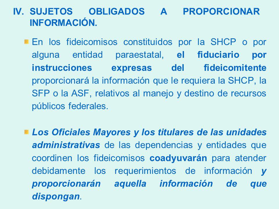 IV.SUJETOS OBLIGADOS A PROPORCIONAR INFORMACIÓN.