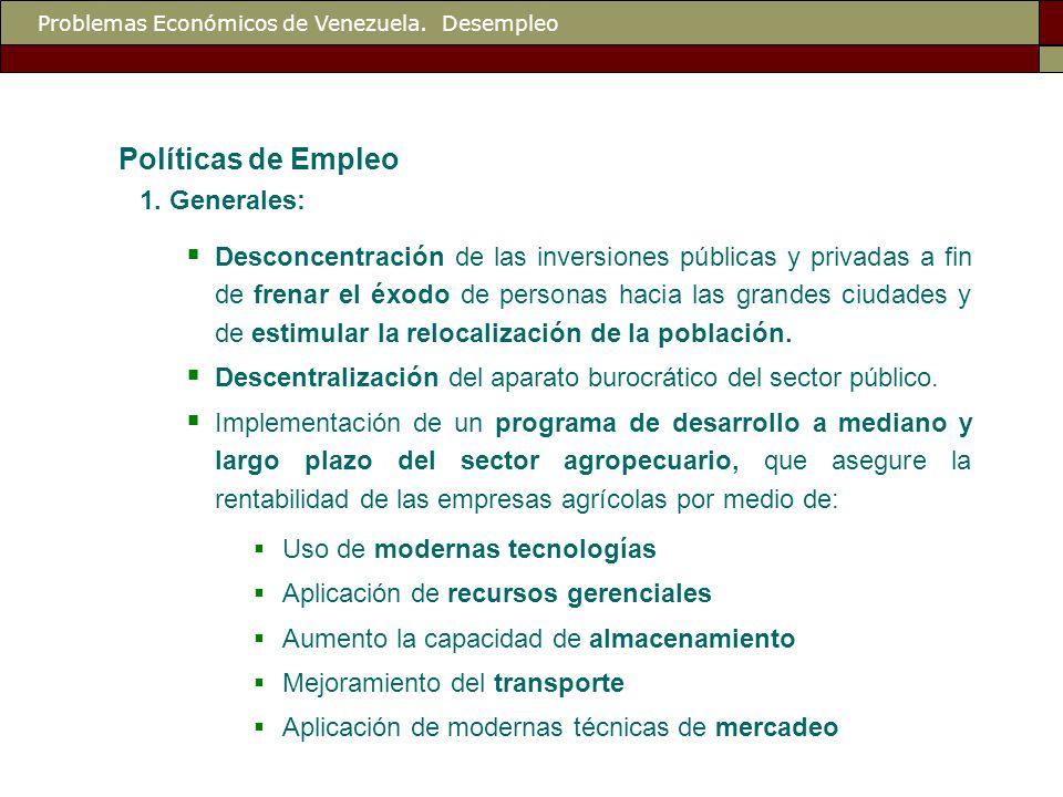 Problemas Económicos de Venezuela. Desempleo Políticas de Empleo 1.