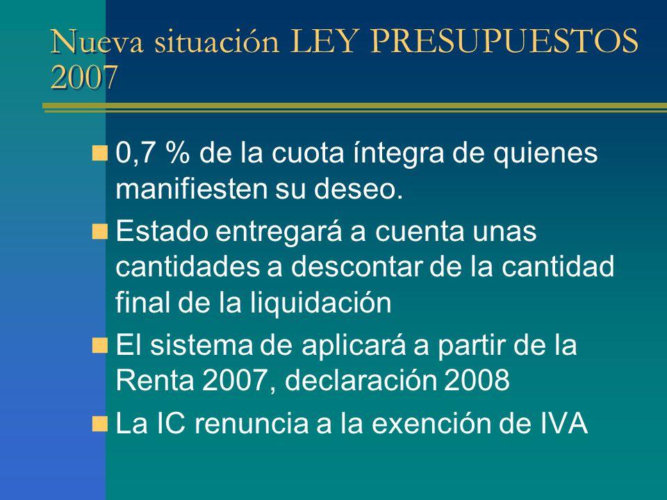 Nueva situación LEY PRESUPUESTOS 2007 0,7 % de la cuota íntegra de quienes manifiesten su deseo.