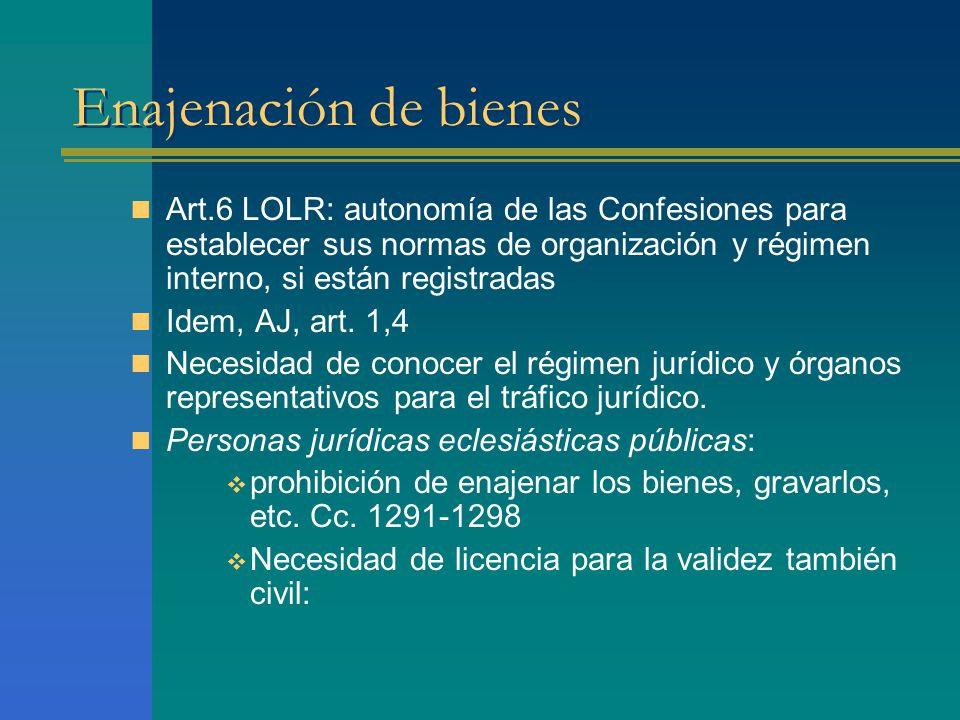 Enajenación de bienes Art.6 LOLR: autonomía de las Confesiones para establecer sus normas de organización y régimen interno, si están registradas Idem, AJ, art.