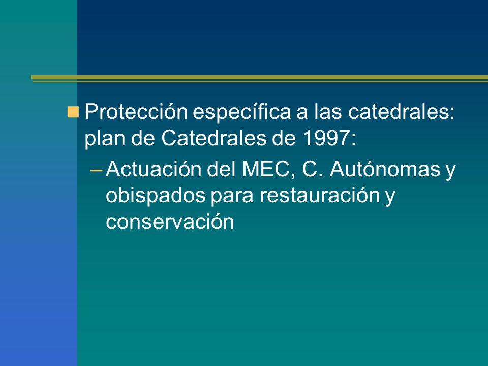 Protección específica a las catedrales: plan de Catedrales de 1997: –Actuación del MEC, C.